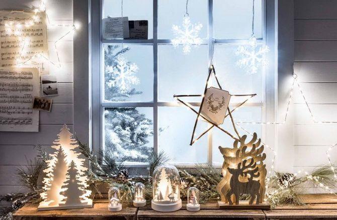 как можно украсить окно к новому году