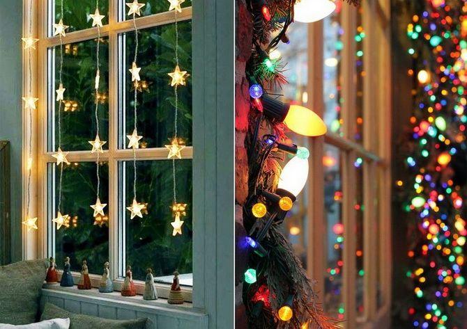 украсить окно к новому году необычные идеи