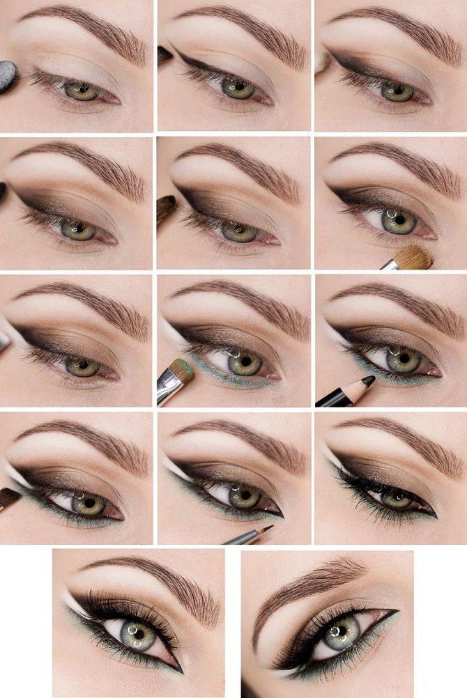 пошаговый макияж на новый год зеленые глаза