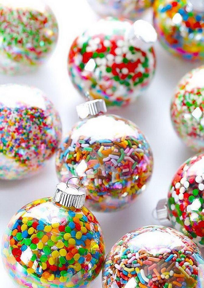 новогодние шарики со сладостями
