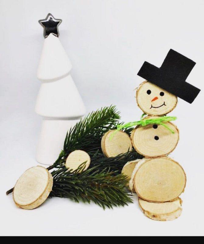 Снеговики из дерева