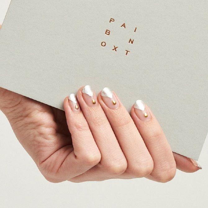 маникюр на короткие ногти на новый год