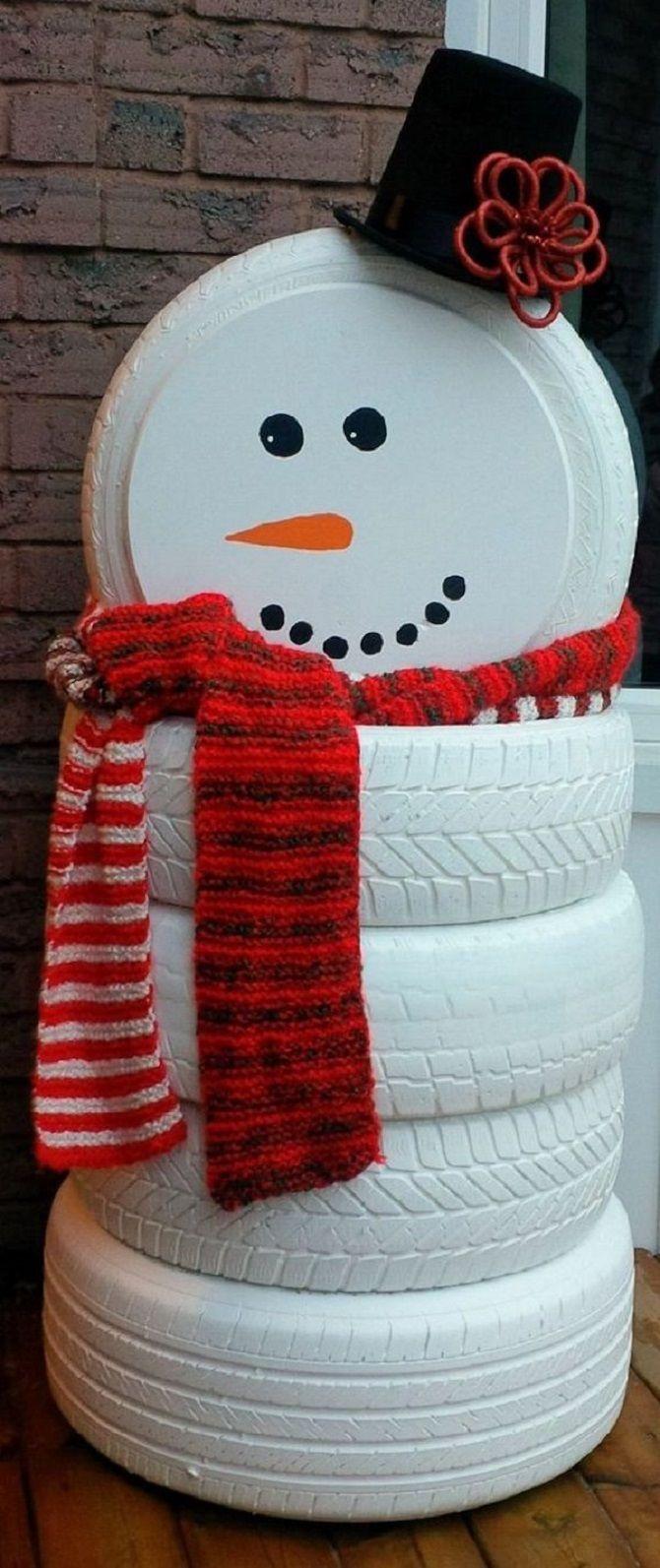 простые снеговички своими руками из шин