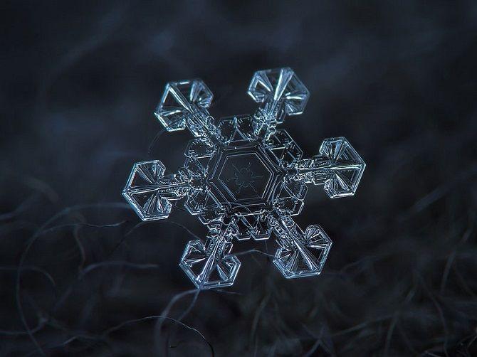 Снежинка под микроскопом