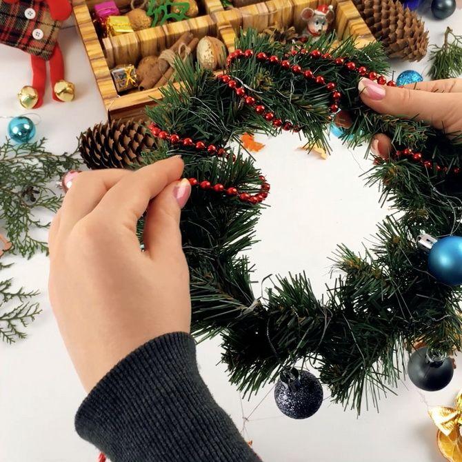 рождественский венок пошагово
