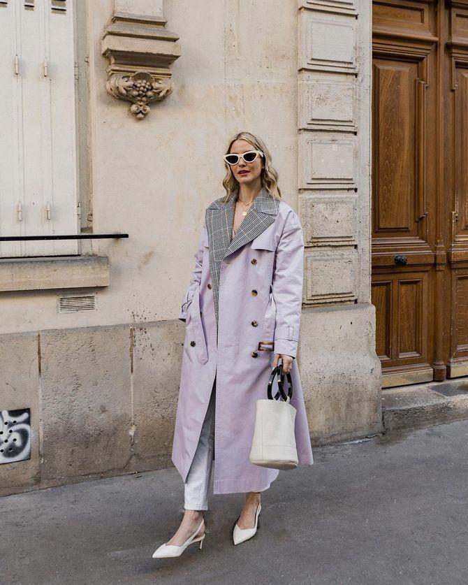 лиловое женское пальто
