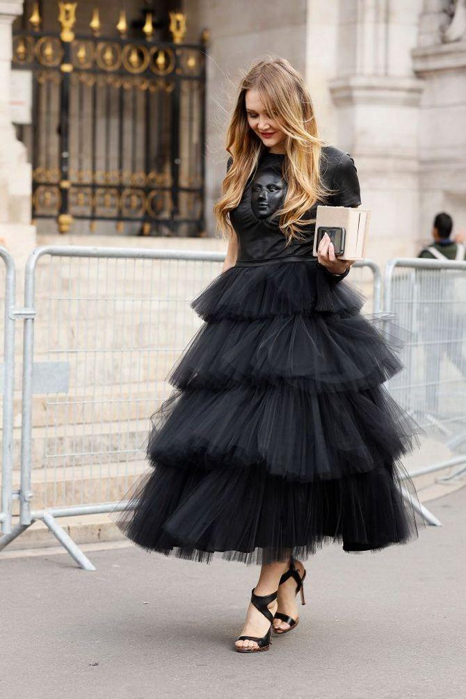 черное платье из фатина