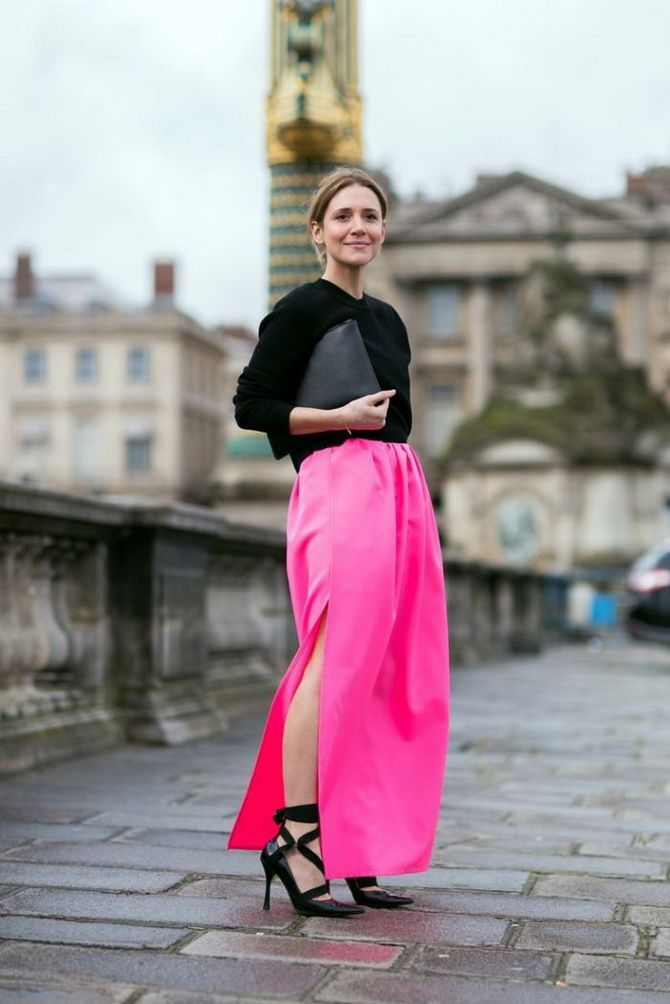 fuchsia color skirt