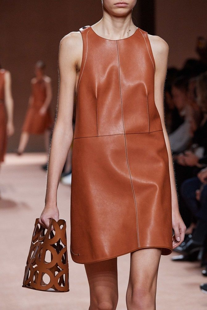 Leather styles of dresses for spring and summer 2020