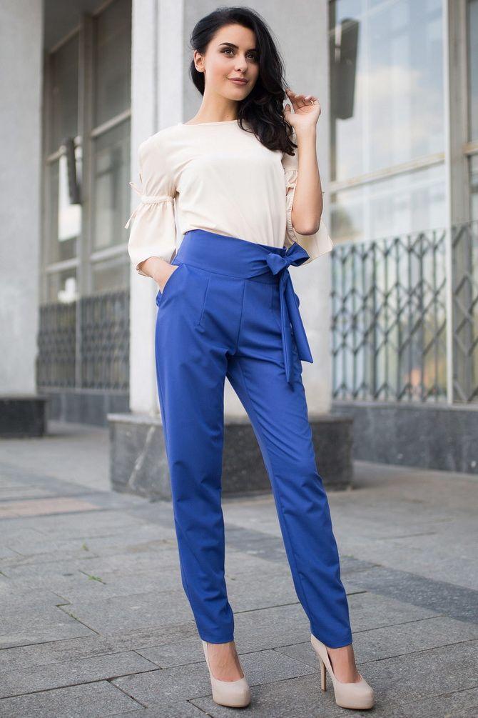 синие женксие брюки