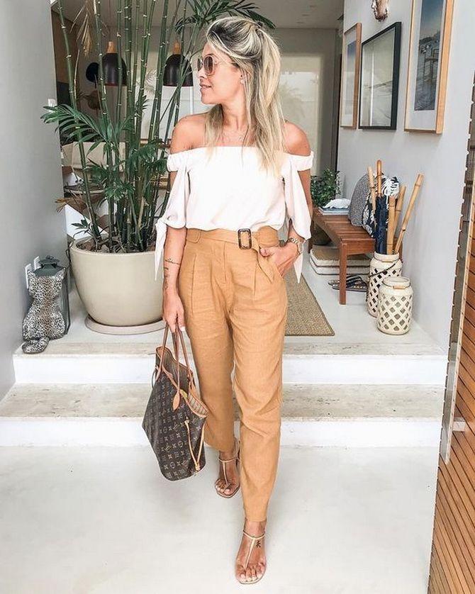 Кожаные брюки песочного цвета