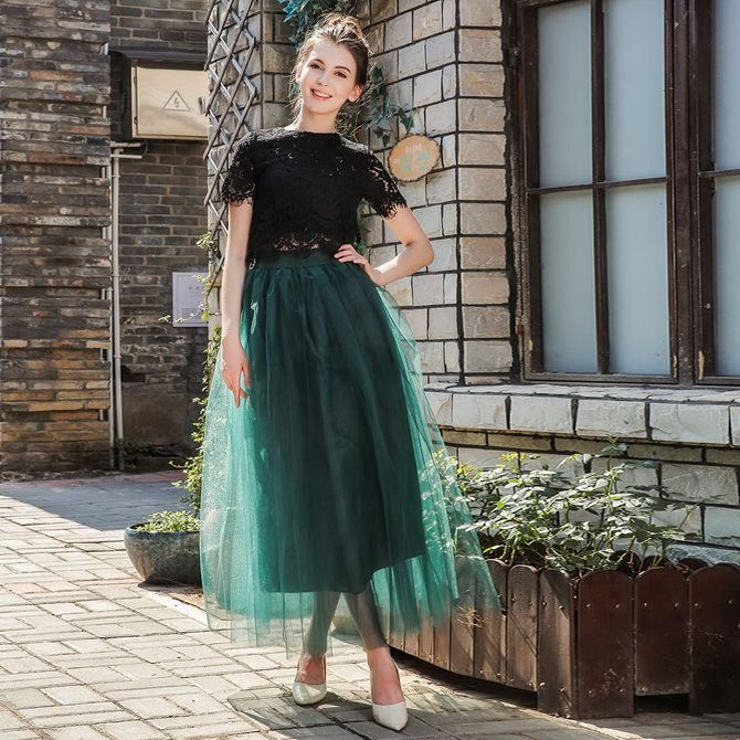 юбка из зеленого фатина