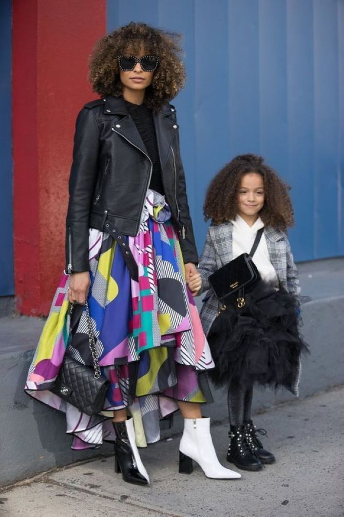 мама с дочкой в стильной одежде