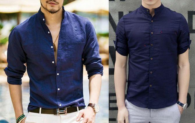 синие мужские рубашки