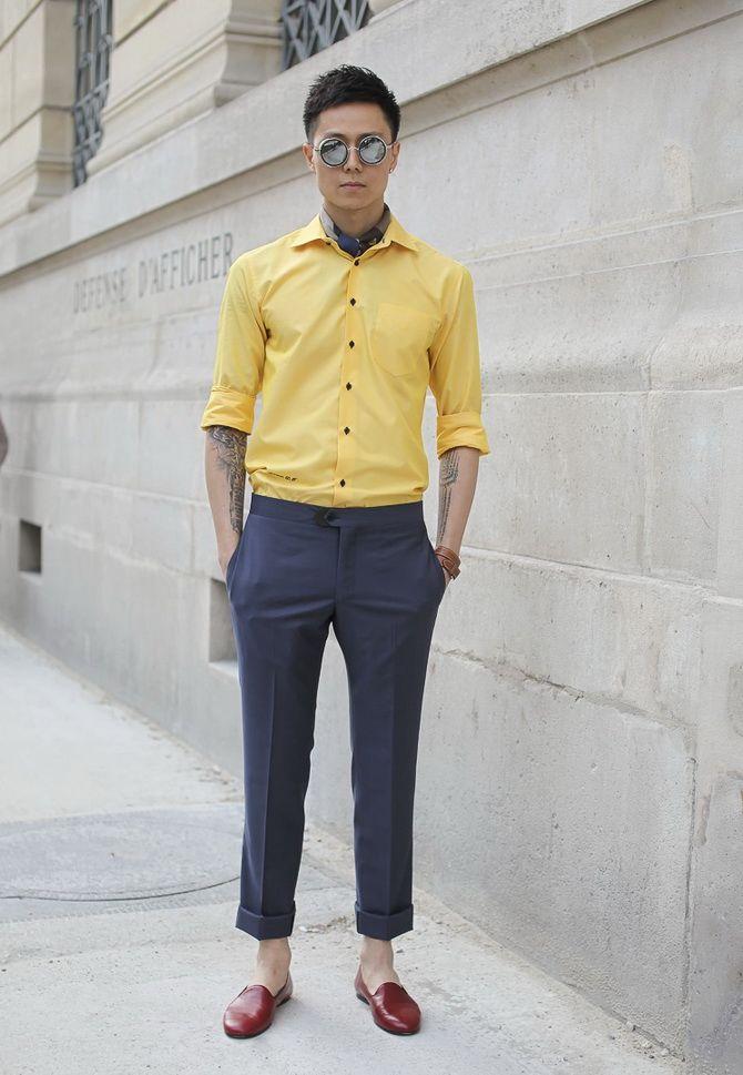 желтая рубашка мужская