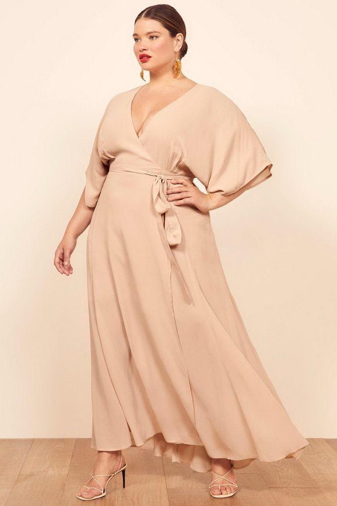 нюдовое платье для полных