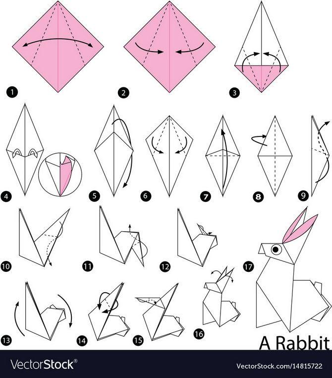 кролик в технике оригами.
