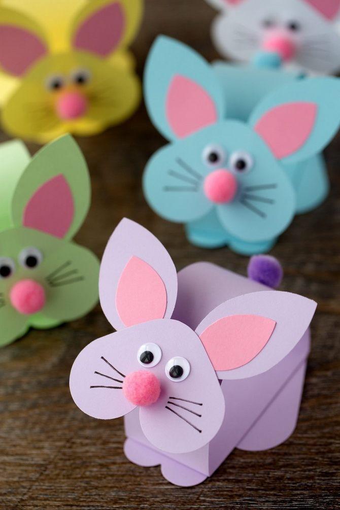 пасхальные кролики из цветной бумаги