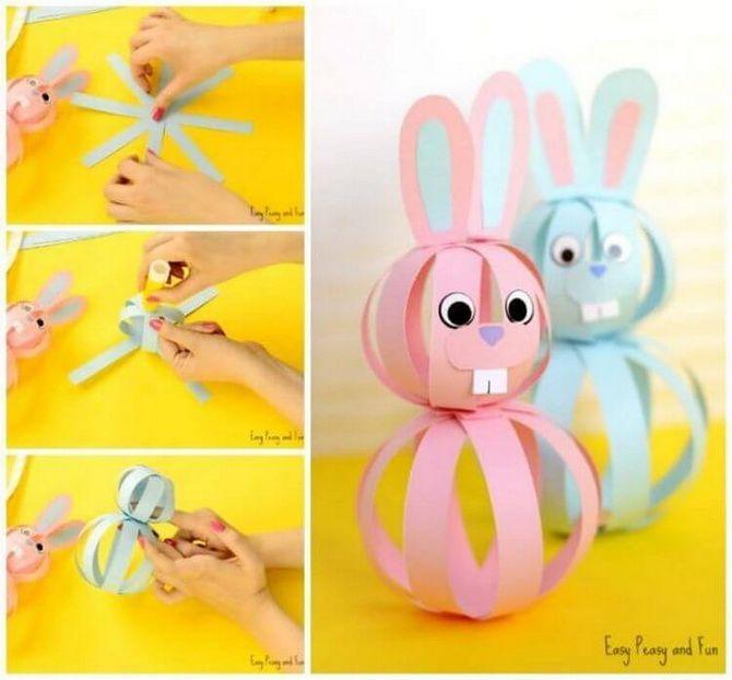 как сделать кроликов из цветной бумаги