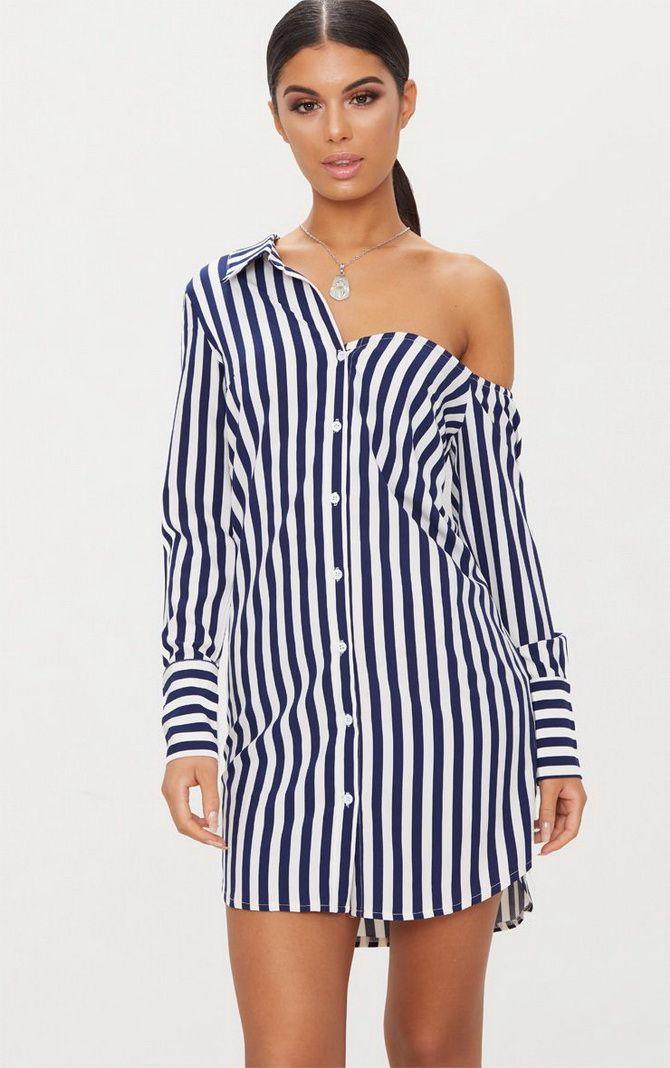 Платья-рубашки в полоску летом-весной