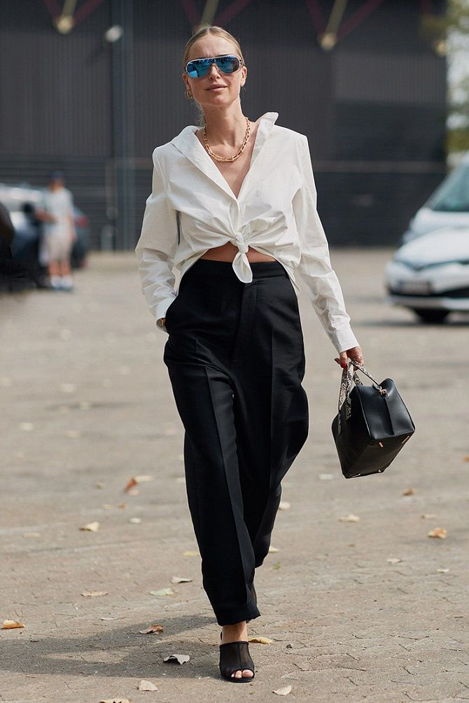 блуза с завязанными краями