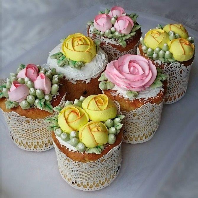 пасхальные куличи с цветами