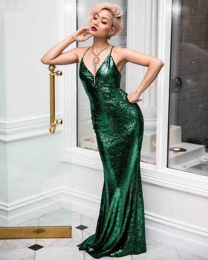 блестящее зеленое платье