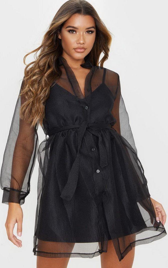 Нарядные платья-рубашки из черной  органзы