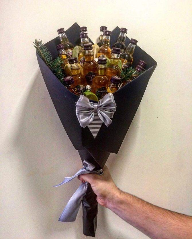 Прості їстівні букети для чоловіків з алкоголем