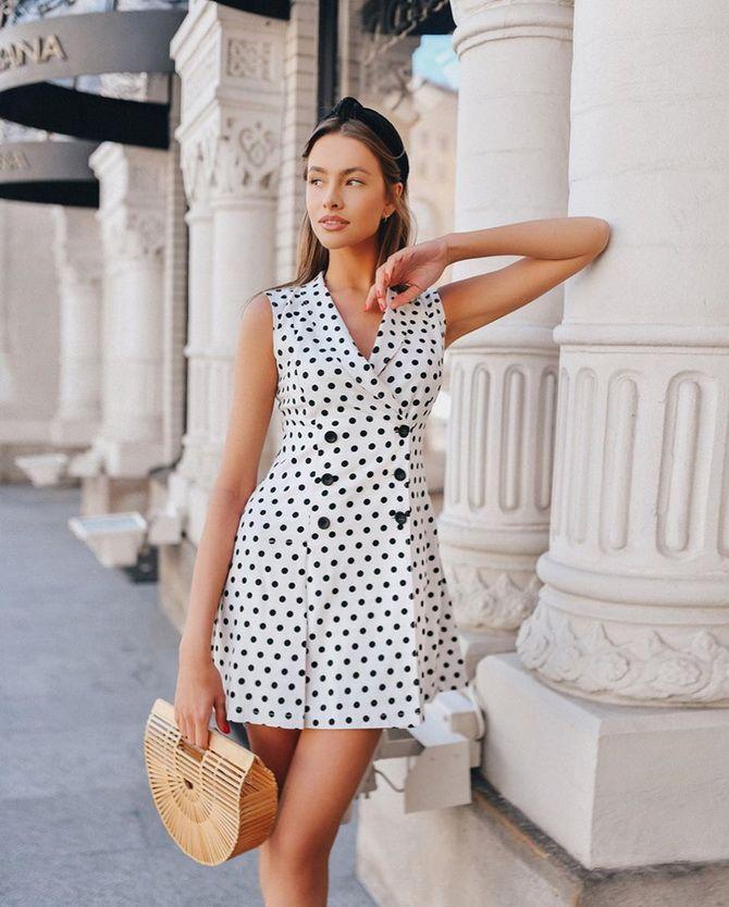 Приталенные платья-рубашки в горошек