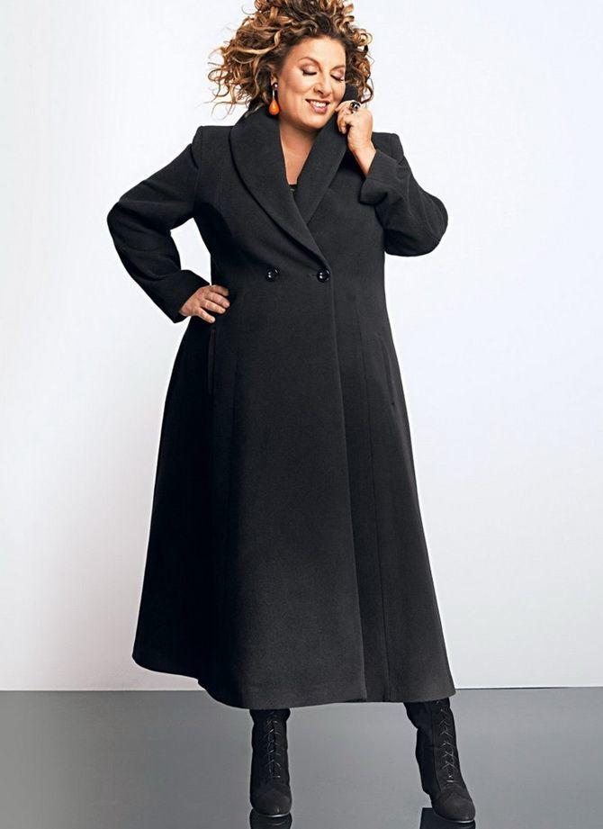 черное пальто для полных