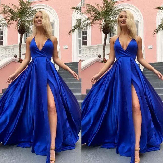 синее длинное платье на выпускной