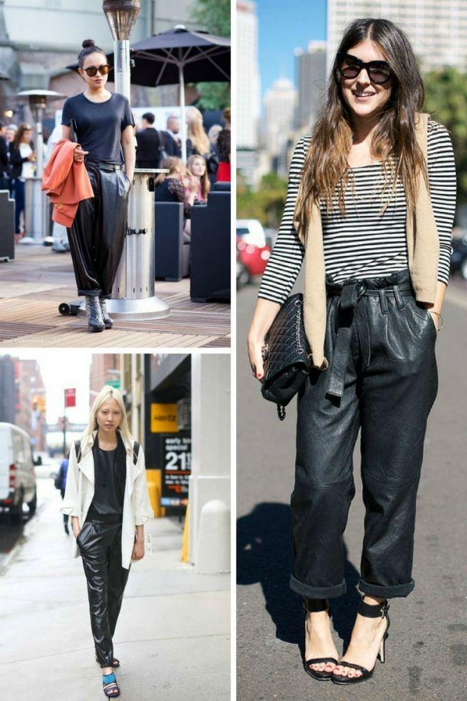 кожаные брюки женские с чем носить