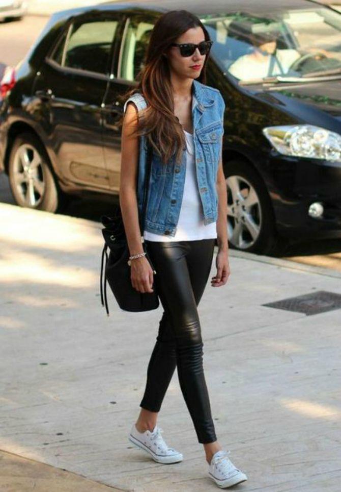 кожаные брюки женские фото