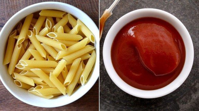 Макароны с кетчупом