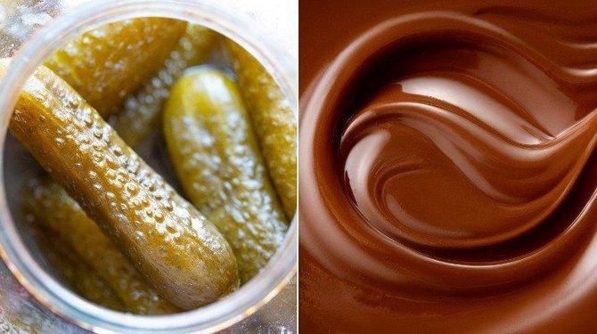 Маринованные огурцы с шоколадом