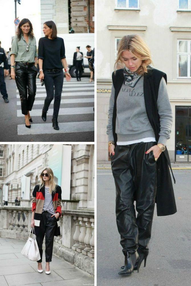 свободные кожаные брюки