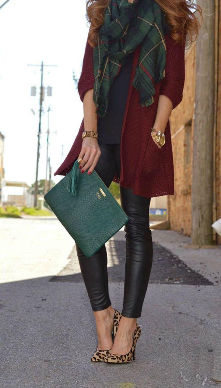 кожаные брюки клетчатый шарф