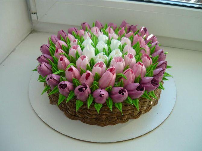 Торт тюльпан на 8 Марта маме