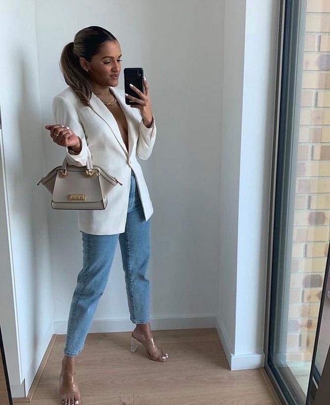 джинсы с модным пиджаком