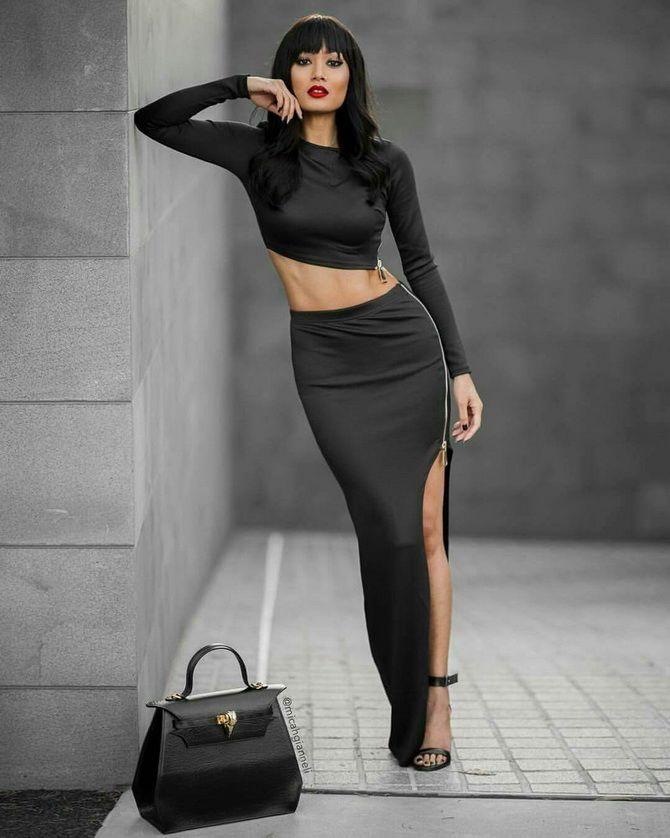 С чем носить длинную черную юбку