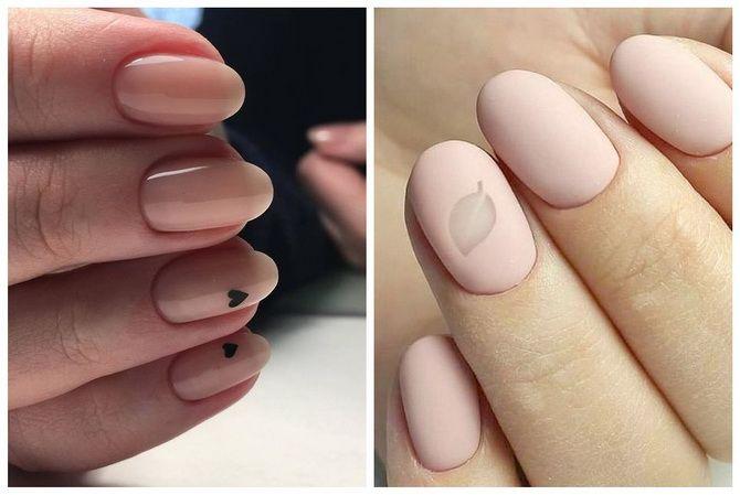 нюдовый маникюр на ногтях
