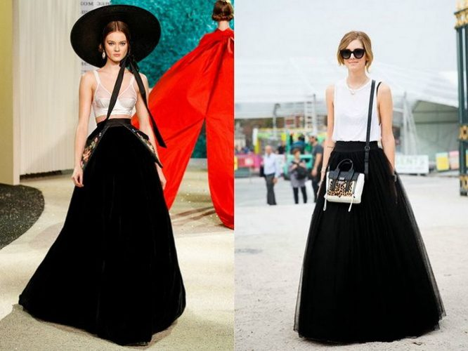 черные юбки макси