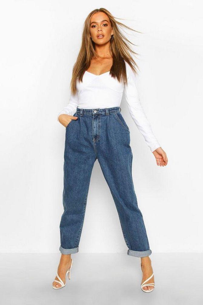 высокие джинсы бойфренды