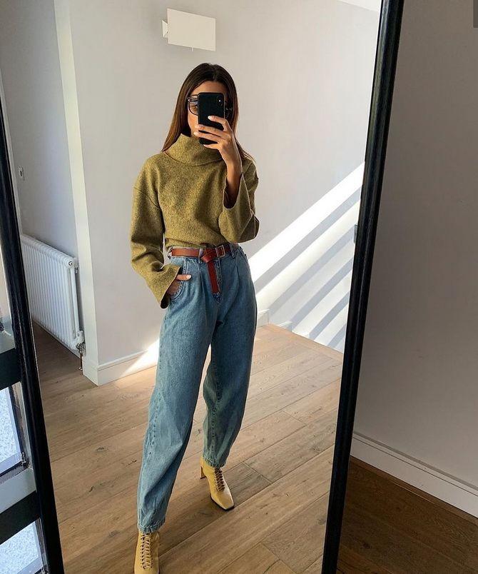 С чем носить широкие джинсы с высокой талией