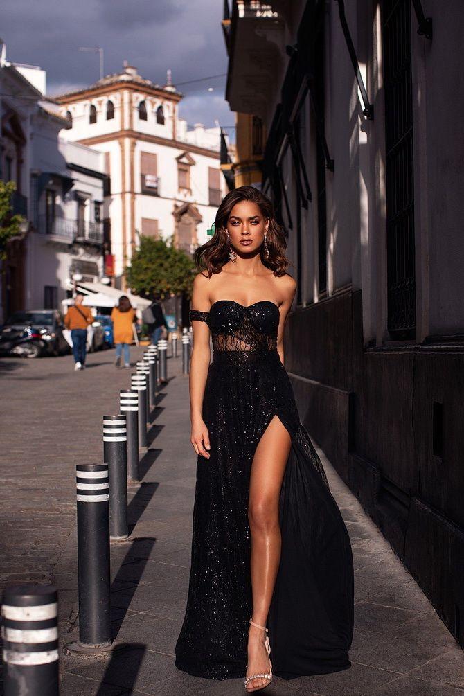 черное вечернее платье на выпускной 2020-2021