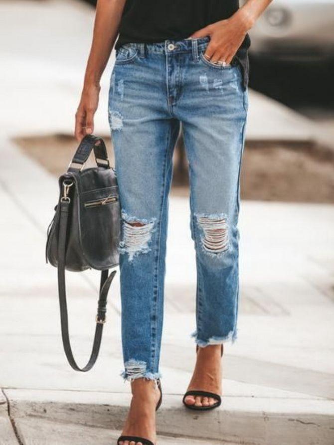 джинсы бойфренды женские с высокой талией