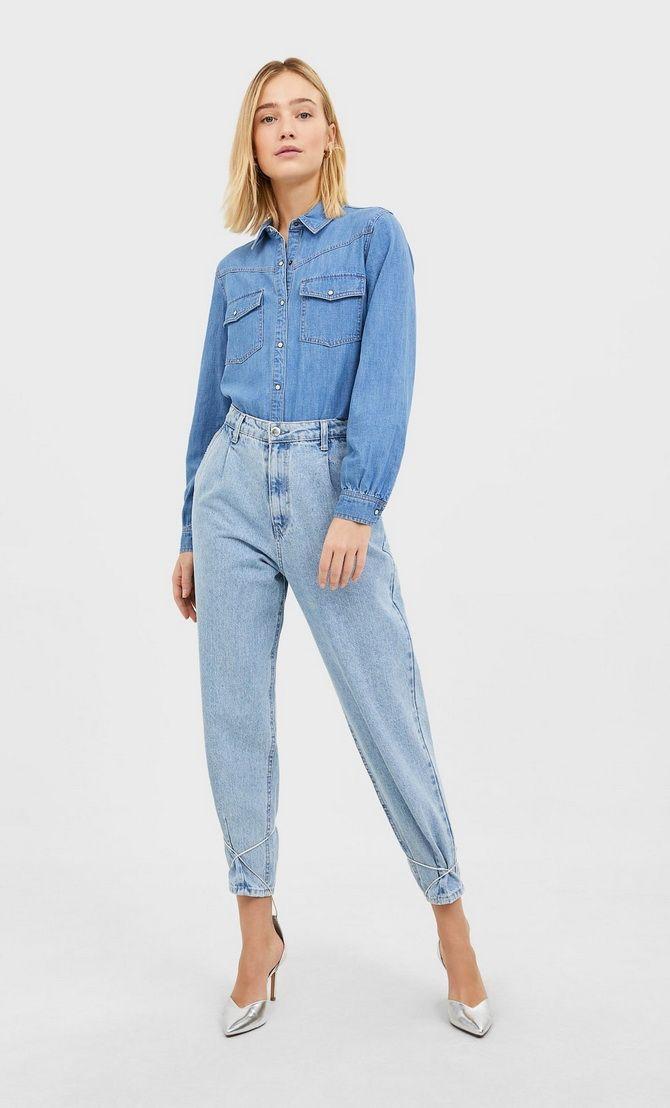 слоучи с джинсовой рубашкой