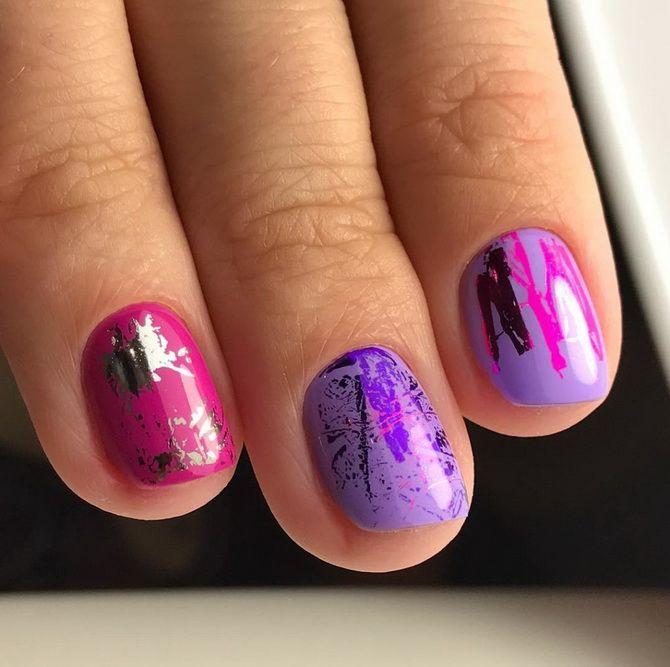 Яркий дизайн коротких ногтей
