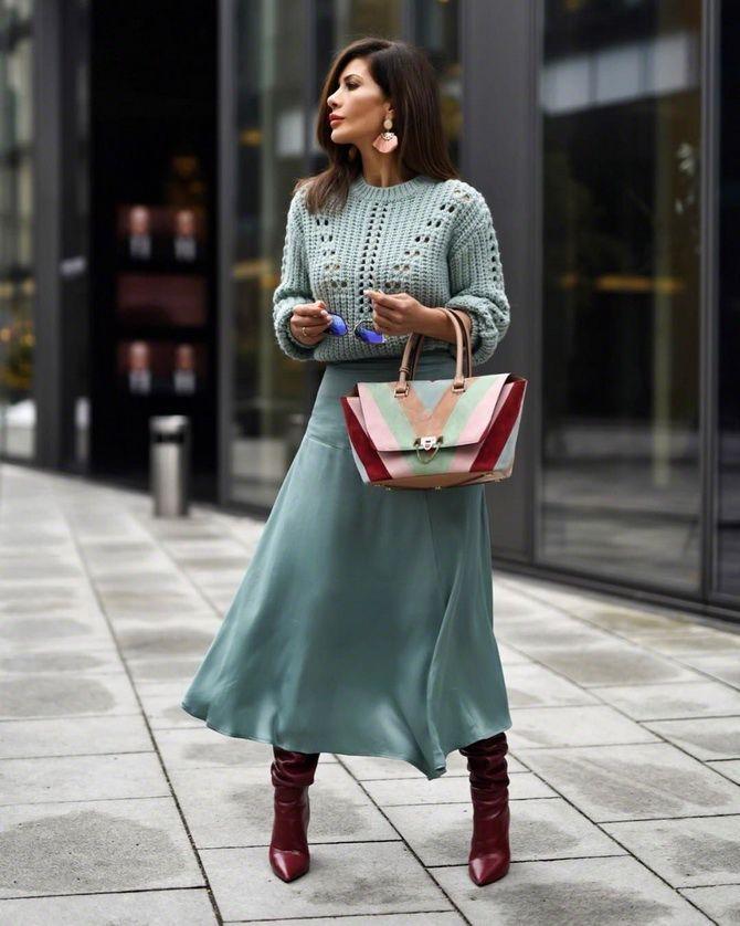 кожаные юбки миди трапеция
